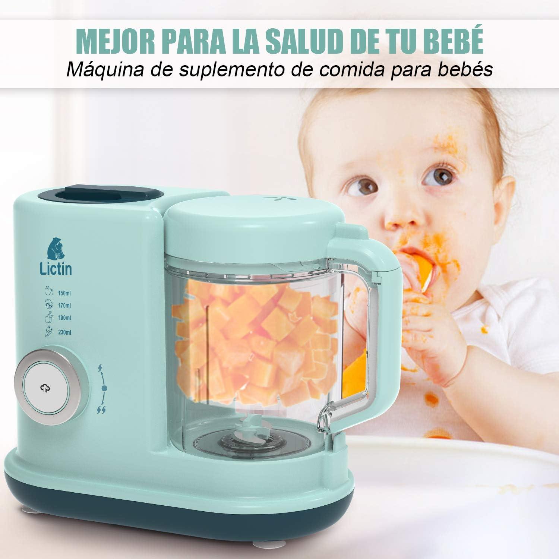 Lictin Robot de Cocina Bebé- 4 en 1 Procesador de Alimentos Bebes con Bandeja de Hielo del Oso y Bandeja de calentamiento de botellas, Calienta Comida, Esterilizador, Batidora y Descongelar: Amazon.es: Bebé