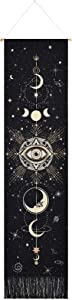 Livole Moon Tapestry Moon Phase Tapestry Starry Sky Tapestry Celestial Galaxy Tapestry Bohemian Constellation Tapestry Wall Hanging for Room(Black, 12.8 x 51.2 inches)