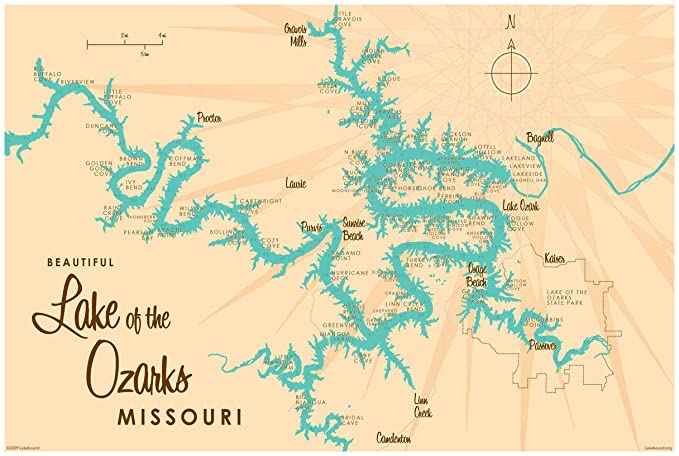 Lake Of The Ozarks Missouri Map Lake of The Ozarks Missouri Vintage Style Map Art Print Poster by