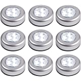 Set of 9 Battery Operated LED Push Lights with 3M Pads by Lights4fun