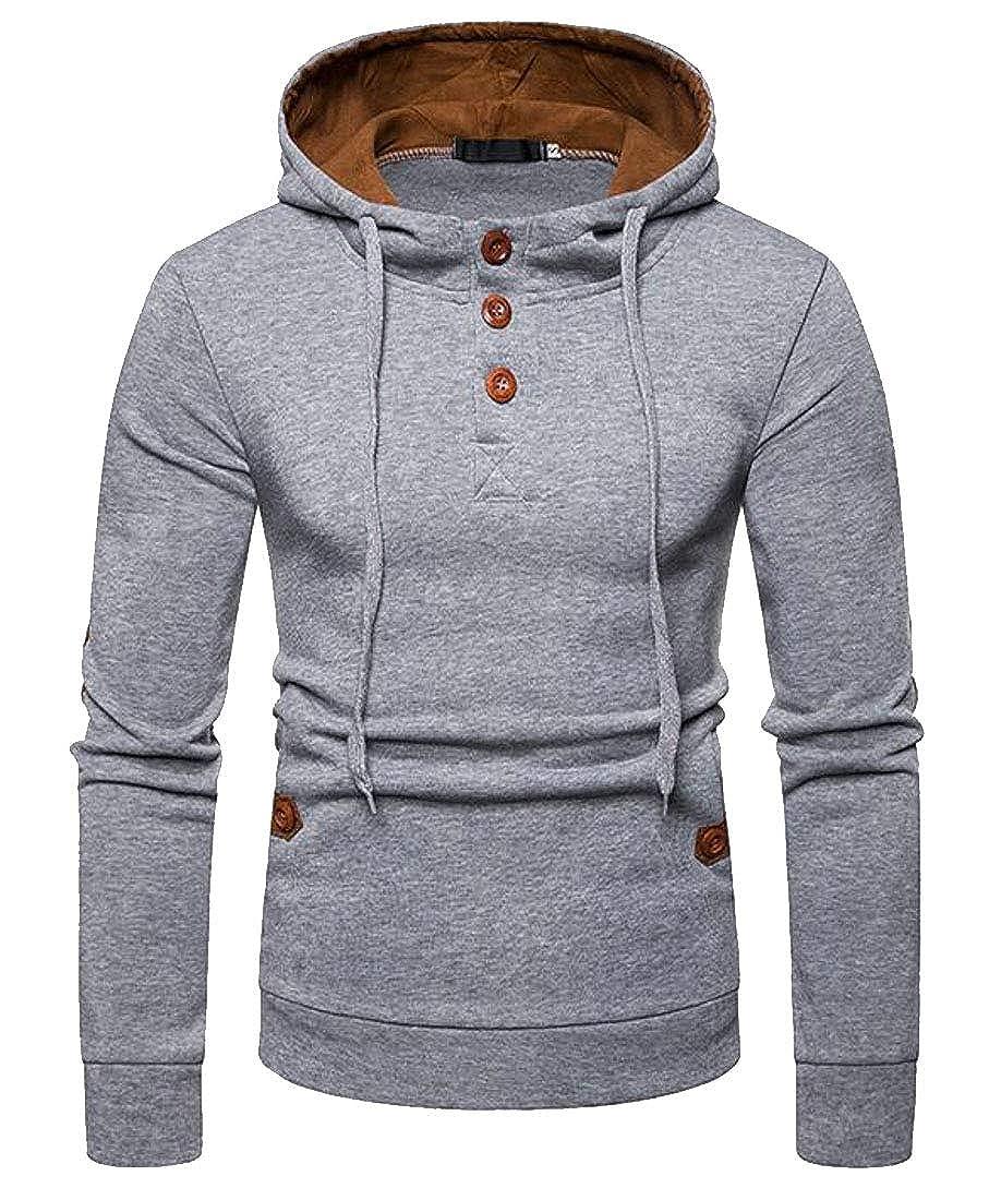 Macondoo Mens Hoodies Drawstring Elbow Patch Pullover Top Sweatshirts
