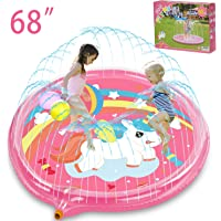 "BATURU Splash Pad for Kids/Toddlers for Backyard, 68"" Big Size Sprinklers Pad for Outside (Pink Unicorn)"