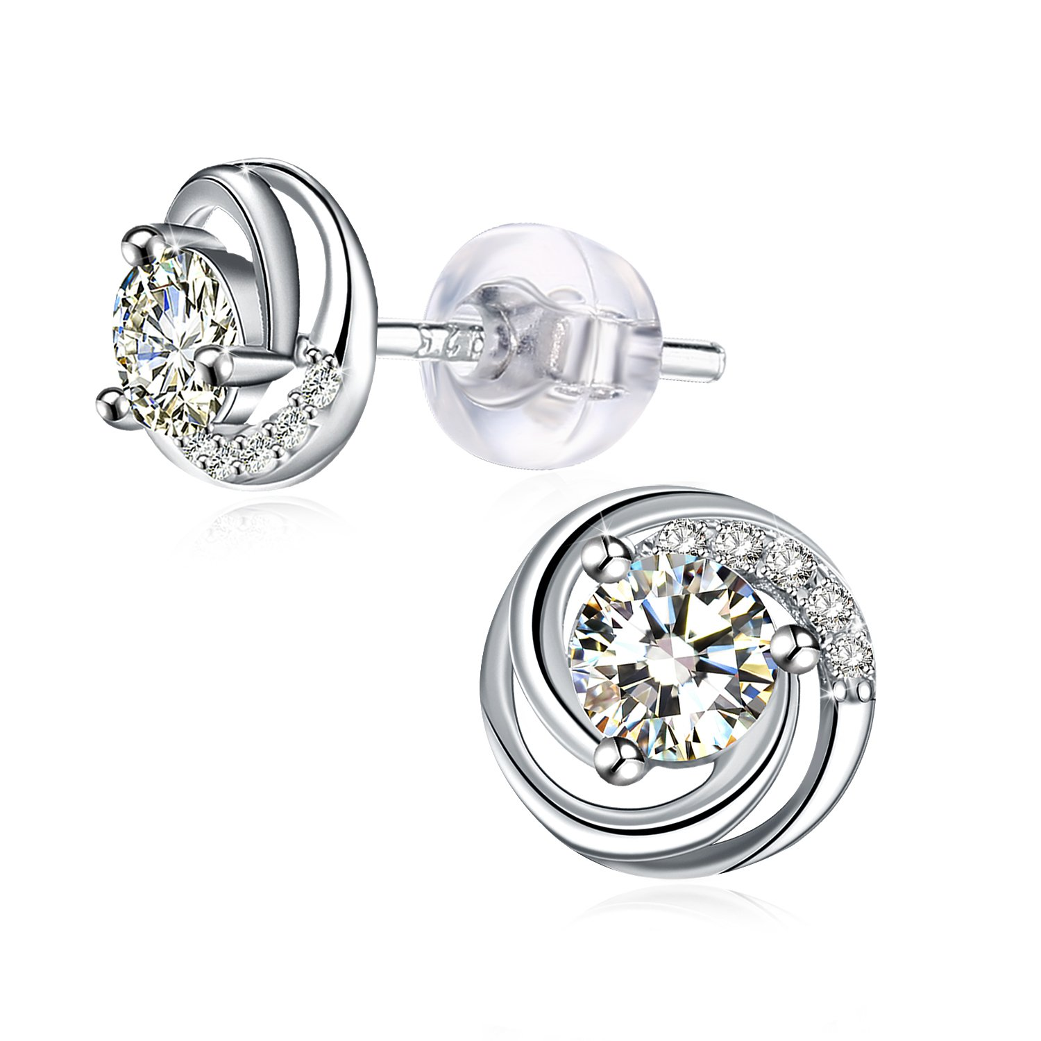J.Rosée Jewelry 925 Sterling Silver with 3A Cubic Zirconia Stud Earrings Spiral love, Gifts for Women Girls