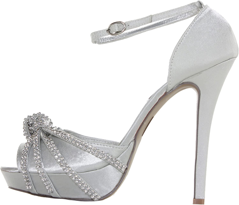 Womens Silver Satin Platform Diamante