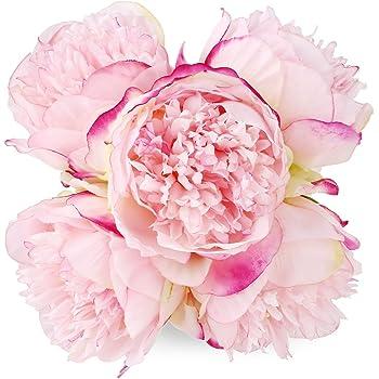 Amazon silk peony bouquet 5 heads deep pink soledi artificial silk peony bouquet 5 heads deep pink soledi artificial fake flower bunch bouquet bridal bouquet wedding mightylinksfo