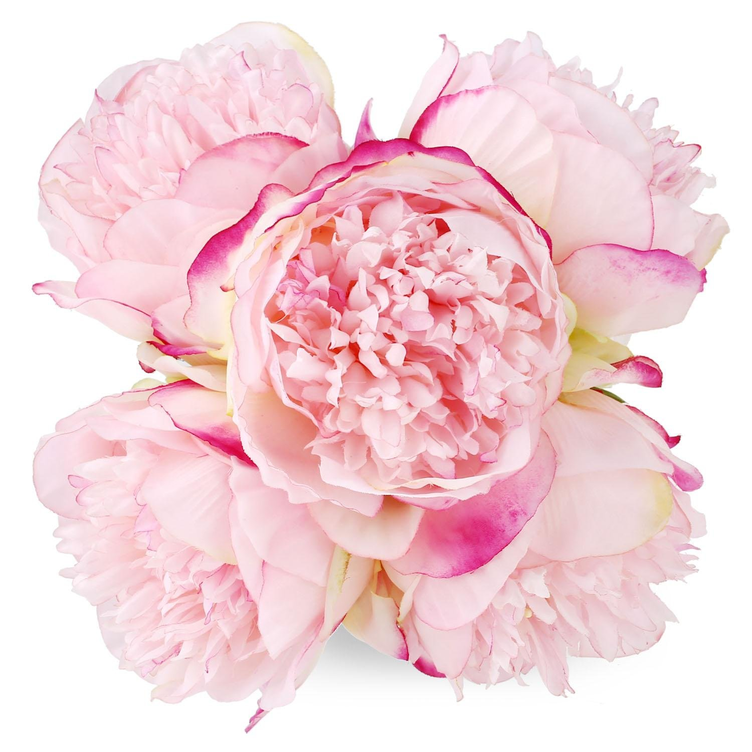 Flowers Artificial Deep Pink Peony Wedding Bouquet Fake Silk Bundle