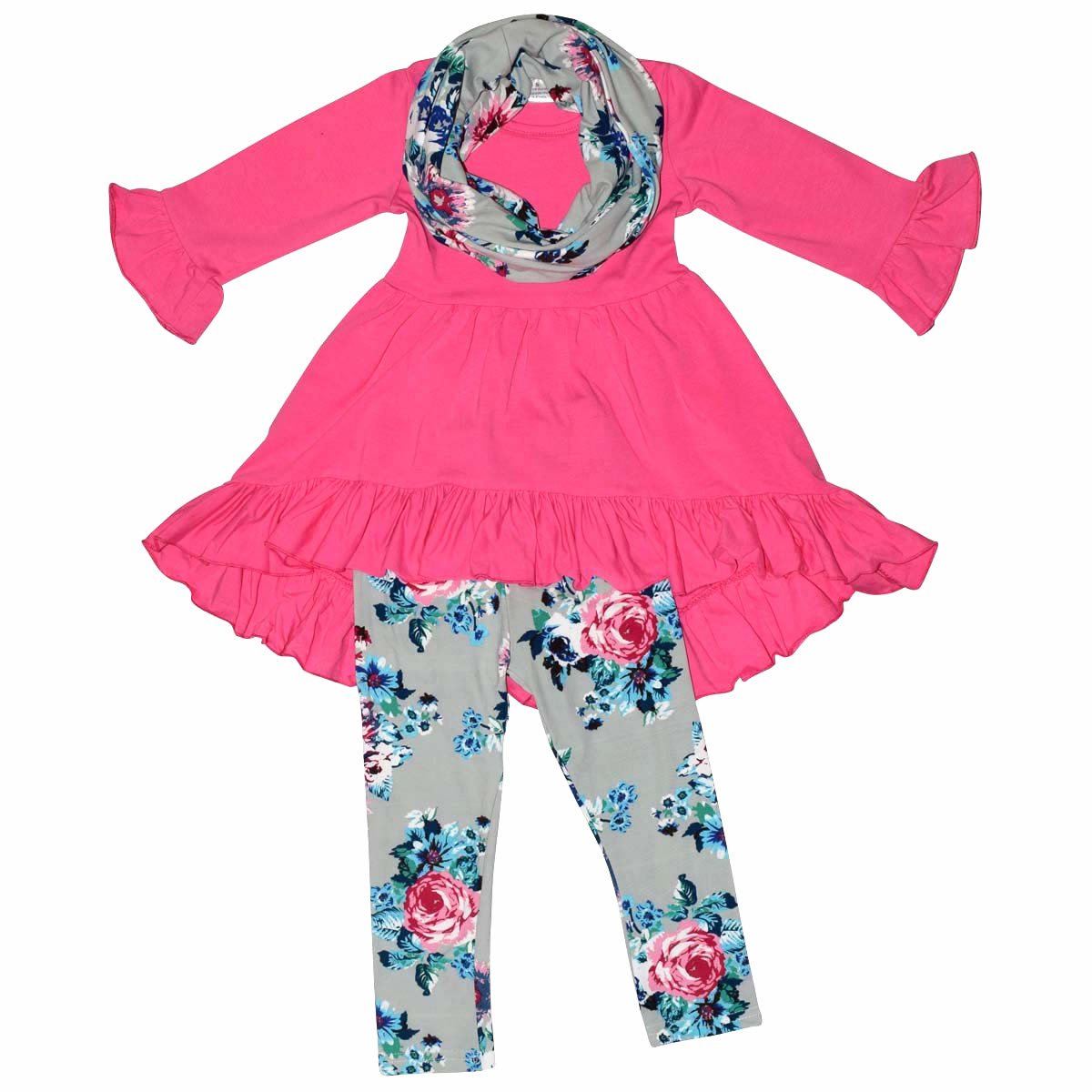 Unique Baby Girls 3 Piece Spring Colors Floral Legging Set