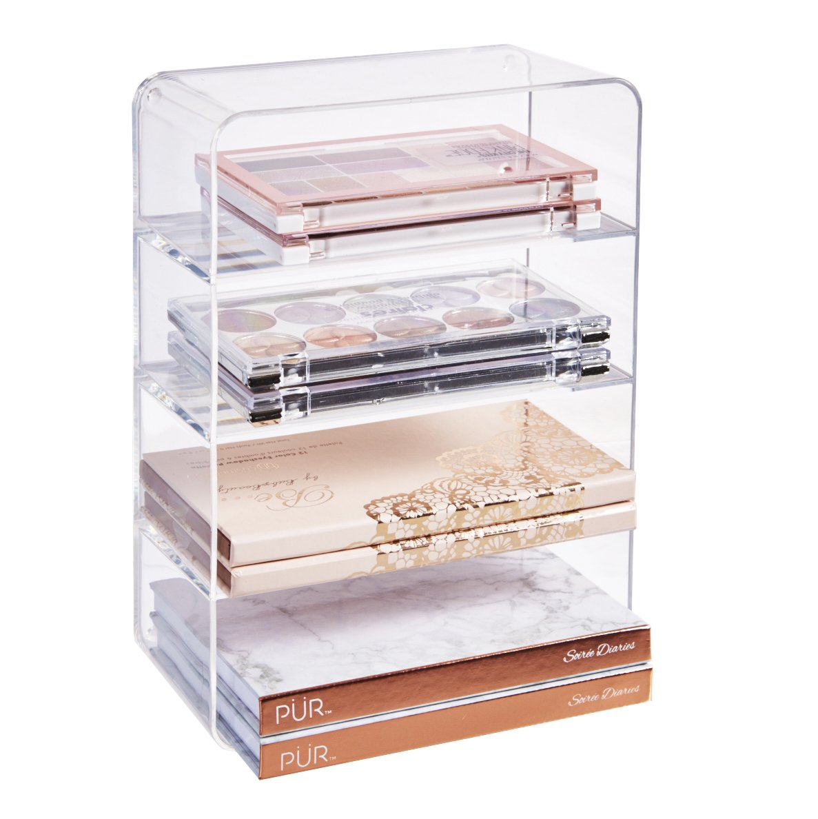 STORi Clear Plastic Makeup Palette Vanity Organizer | 4-Compartments