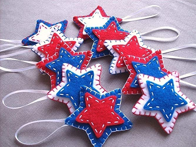 10 Patriotic Star Ornaments Red White Blue Star Decorations 4th July Independence Day American Flag Usa