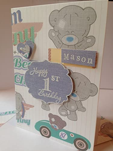 Personalised Birthday Card Girls Boys Handmade Any Age And Name Tiny Tatty Bear Theme Green Blue