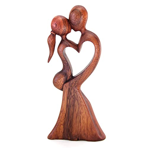 NOVICA Love s Kiss Wood Sculpture