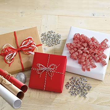 Amazon.com: Jumbo Rolls Kraft Gift Wrap - Set of 3 (Natural, Red ...