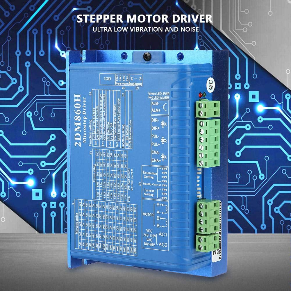 2DM860H 2 Phase Digital Stepper Motor Driver Microstep Controller AC 30-80V//DC 40-110V for CNC//Recorder//Cutting Machine