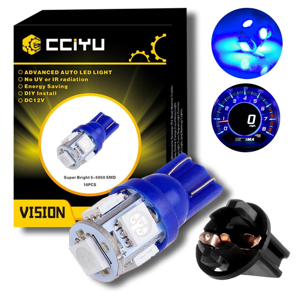 cciyu (10) T10 5-5050-SMD PC194 Blue LED Bulb Instrument Panel Cluster Dash Light Twist Lock Socket T10 194 Led Bulb