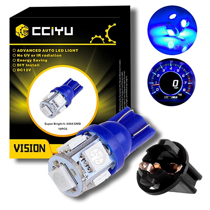 cciyu (10) T10 5-5050-SMD PC194 Blue LED Bulb Instrument Panel Cluster Dash Light Twist Lock Socket