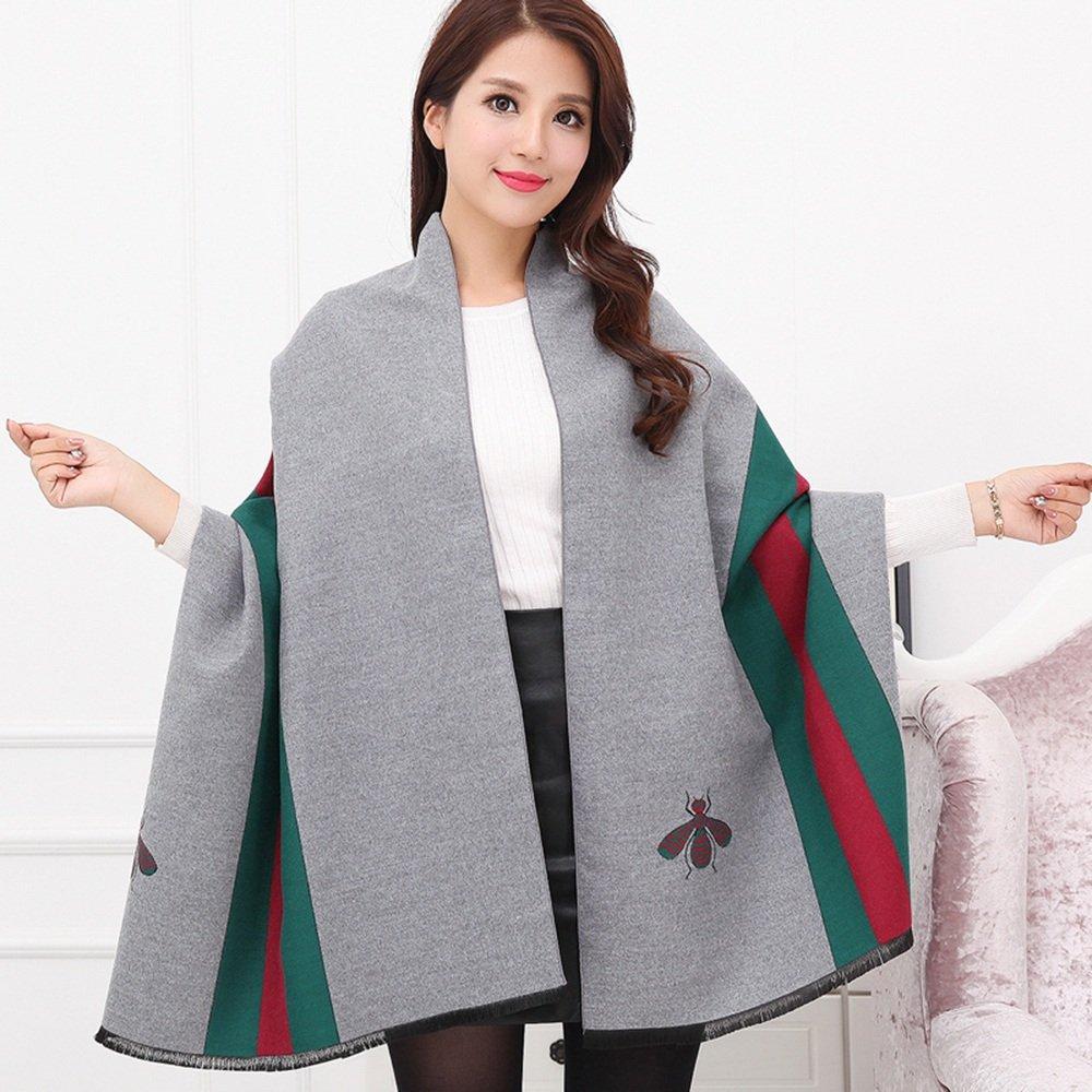 HAIZHEN alla moda alla moda Donne Spessore Mantello Solido Colore Sciarpa Sciarpa Scialle Doppio Uomo Scopo Autunno E Inverno Mantello Multifunzionale Morbido e caldo ( Colore : Grigio )