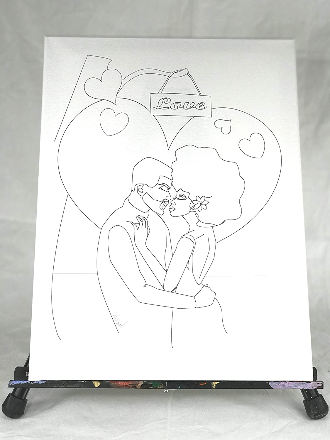 Black Couple in Love - Ready to Paint DIY Predrawn Canvas