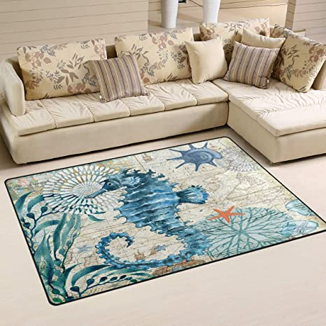 Blue Seahorse Nautical Map Area Rugs 5 X 3 Door Mats Indoor Polyester Non