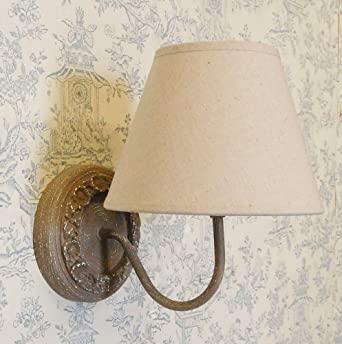 French country shabby chic style circular wall taupe linen shade french country shabby chic style circular wall taupe linen shade aloadofball Images