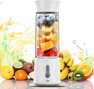 chalvh Portable Blender, 16.9 Oz Personal Blender for Shakes, Smoothie and Fruit Juice, Mini Personal Size Mixer with USB Rechargeable 6 Stainless Steel Blades, BPA Free 500ml Cup for travel-White