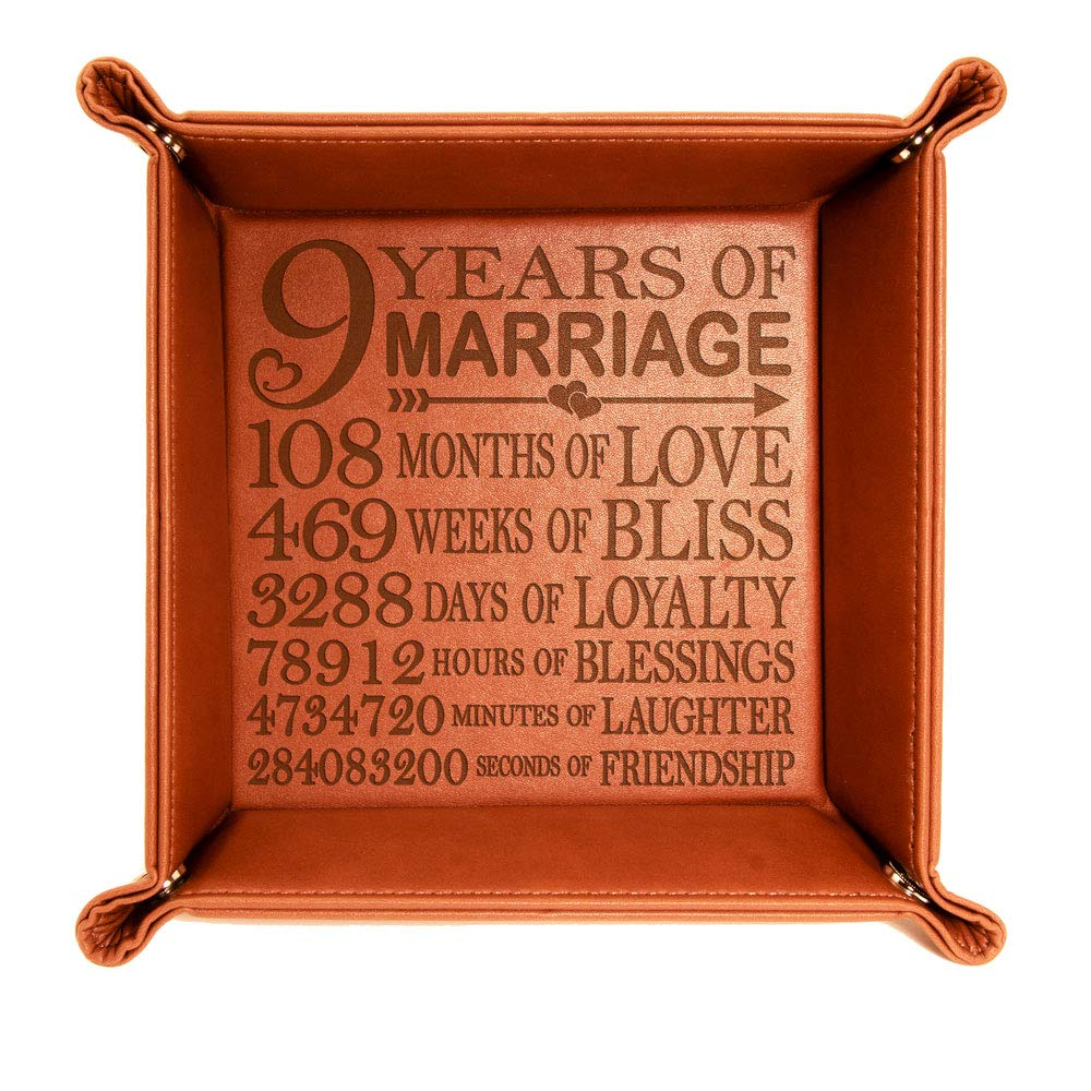 KATE POSH 9 Years of Marriage Engraved Leather Catchall Valet Tray, Our 9th Wedding Anniversary, 9 Years as Husband Wife, Gifts for Her, for Him, for Couples Rawhide