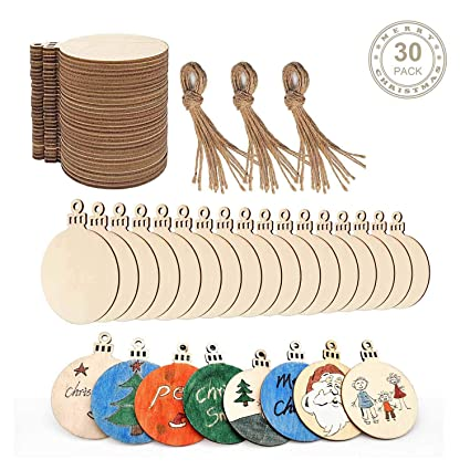 Wooden Christmas Ornaments To Paint Blank Unfinished Wood Slices Circles 30pcs For Christmas Decorations Hangers Kids Crafting Art Round Diy Wood