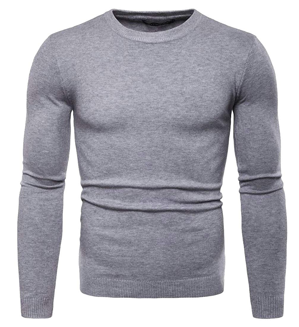 Smeiling Mens Crewneck Slim Casual Knitted Solid Pullover Sweaters