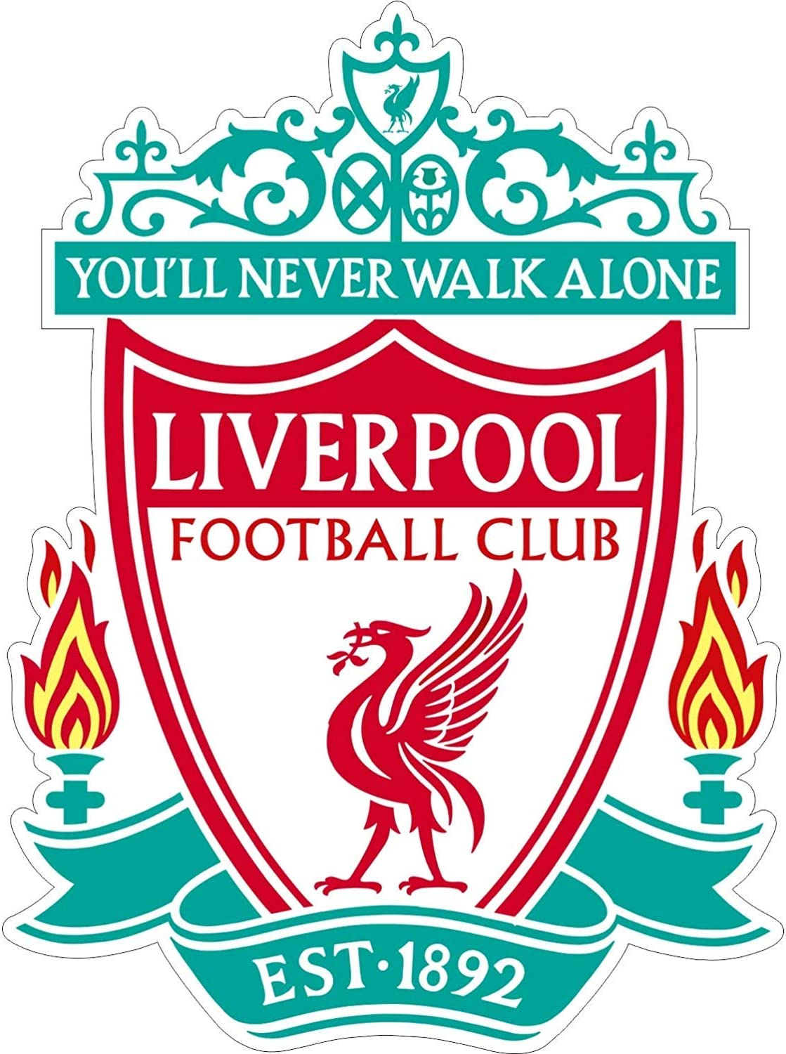 """FC Liverpool Footboll Soccer Decal Vinyl (Any Sizes) Stickers for Fans/You'll Never Walk Alone (3"""")"""