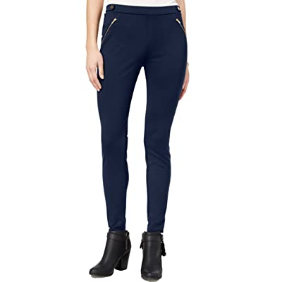 One Hart Juniors' Zip-Pocket Skinny Ponte Pants. Color: Blue. Small. at Women's Clothing store