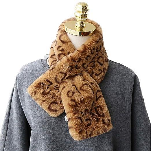 e61de3f93e2c Autumn and winter Leopard-print furry scarf female imitation fur rabbit fur  cross version of