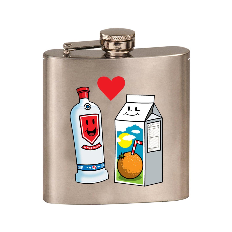 【人気商品!】 Vodka Loves – Vodka OJオレンジジュースCute Couple Meant to Meant Be Screwdriverグラフィック – 3dカラープリント6オンスステンレス鋼フラスコ(スチールシルバー) B07DLDBKH5, どっとカエール:58f79f8b --- a0267596.xsph.ru