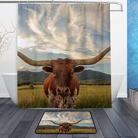 La Random Texas Longhorn Steer Bathroom Shower Curtain And Bath Rugs Set 60x72 Inch Polyester With