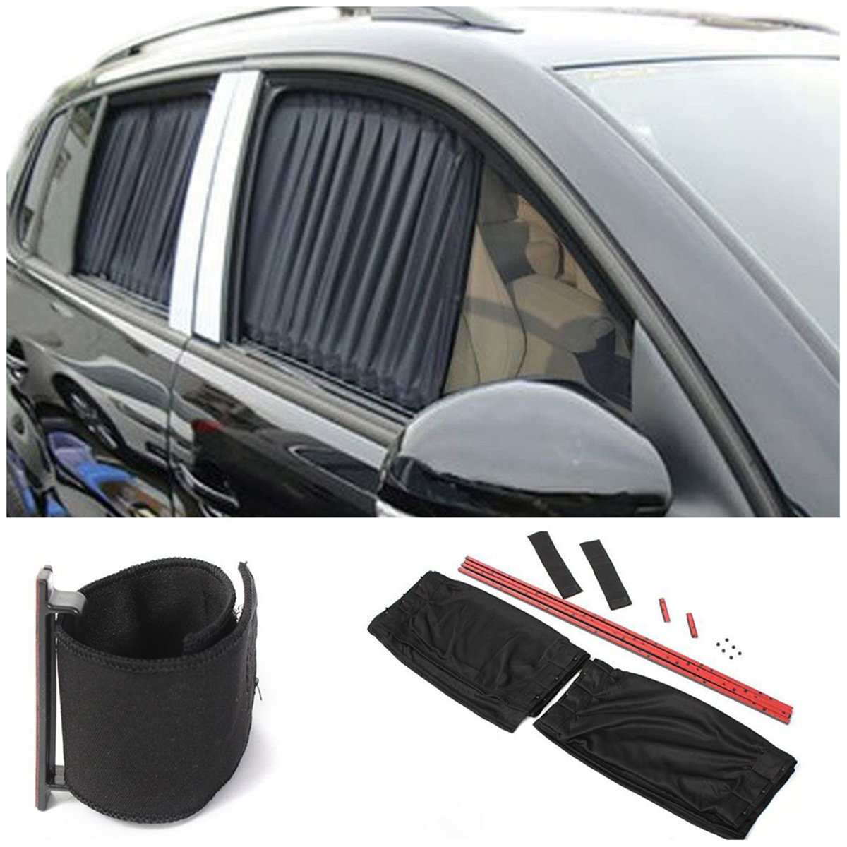 USDREAM 2PCS 70cm Adjustable Car SUV Window Anti-UV Sun Shade Drape Visor Curtain Valance USDREAMD USDREAMD-0702725