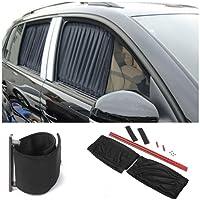 SHOPBIBLES 2 Stück 70cm justierbares Auto-SUV-Fenster Autosonnenschutz für Baby Hitzeschutz Sonnenschutz Anti-UV Sun Schatten Tuch Vorhang Valance große Seitenscheiben