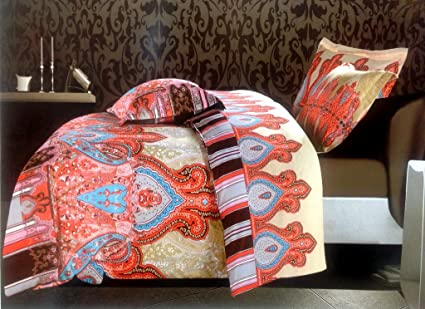 RUBY ORANGE COLOR BEDSHEET WITH PILLOW COVERS ABSTRACT PRINT BRIGHT MATCHING