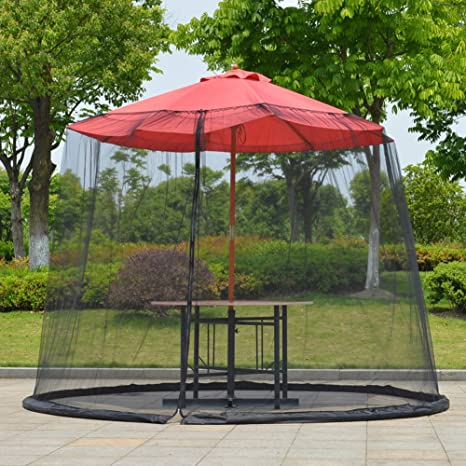 Sombrilla Para El Jardín Parasol Para El Sol Mesa Mosquitera Cubierta Pantalla Red De Insectos Cubierta Para Acampar Al Aire Libre, Apertura De Cremallera Y Tubo De Agua En La Base (Black,275x230cm):