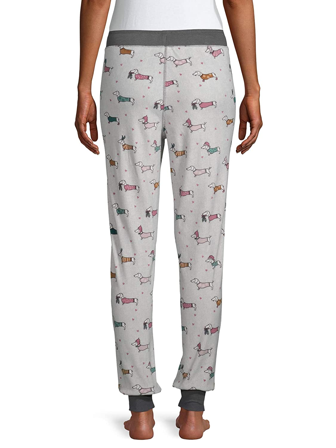 Dachshund Dogs Winter White Fleece Jogger Lounge Sleep Pants