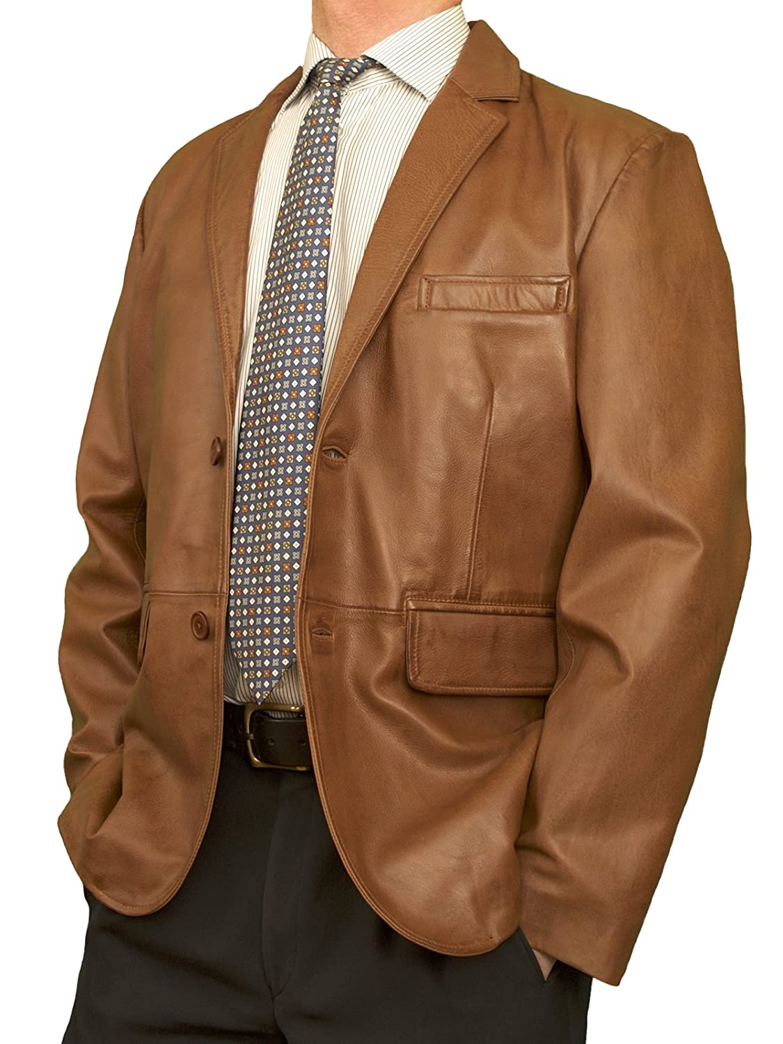 Ashwood Mens Superior Luxury Real Leather Blazer Jacket, 2-Buttons