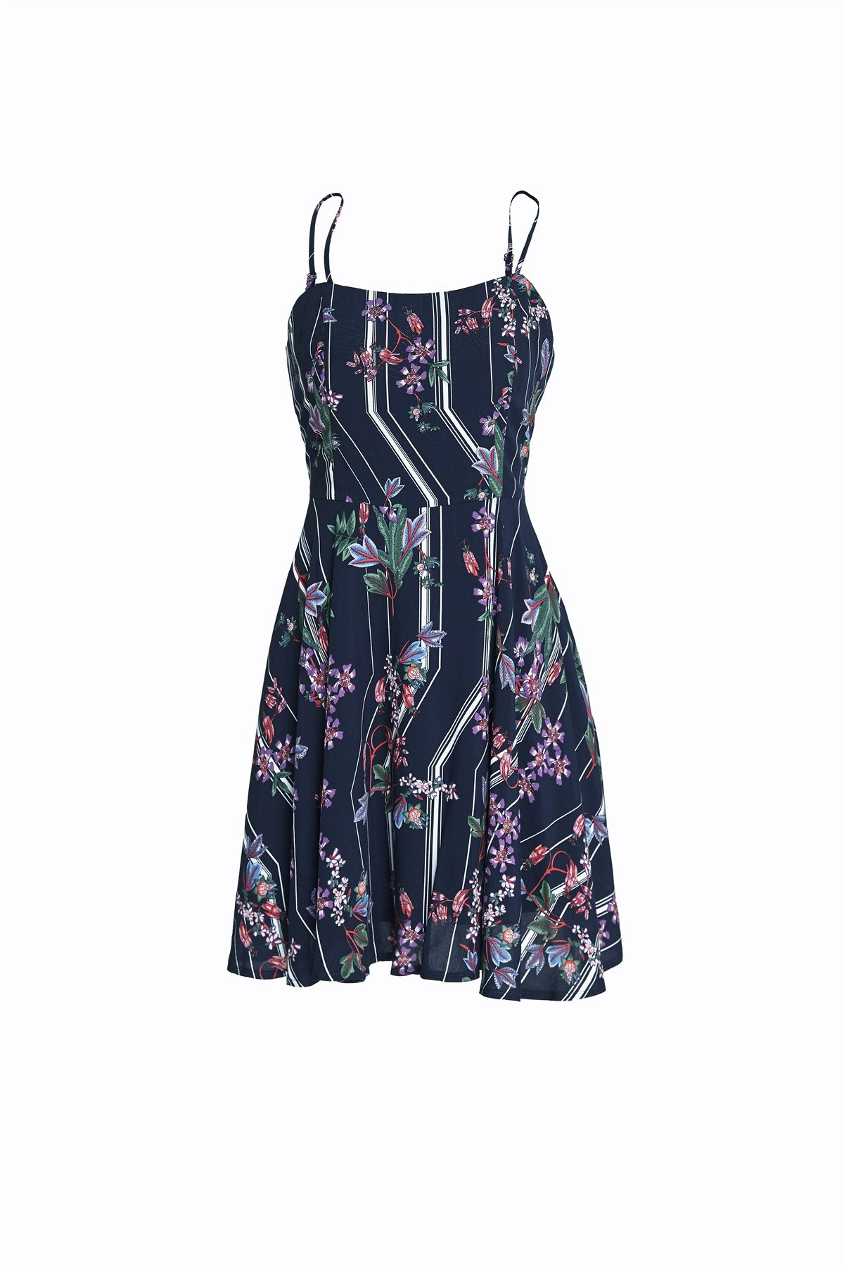 SUWIINA Women\'s Sleeveless Spaghetti Strap Beach Floral Printed Mini Short Dress Blue