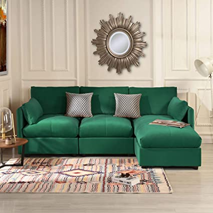 Amazon.com: Emerald Green Velvet Sectional Sofa Couch with ...