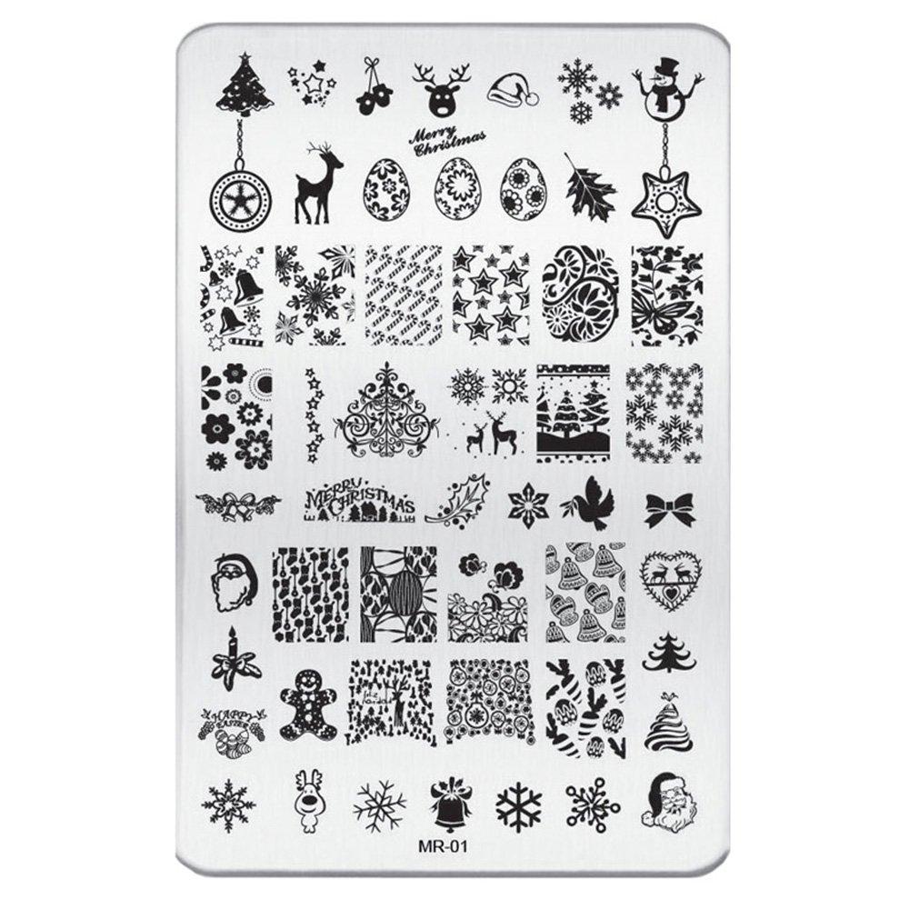 Lovenails | XXL X-Mas Stamping Schablone 2 | für Weihnachten Advent Winter | Stempelschablone Nailart – für weihnachtliche Naildesigns Nageldesigns