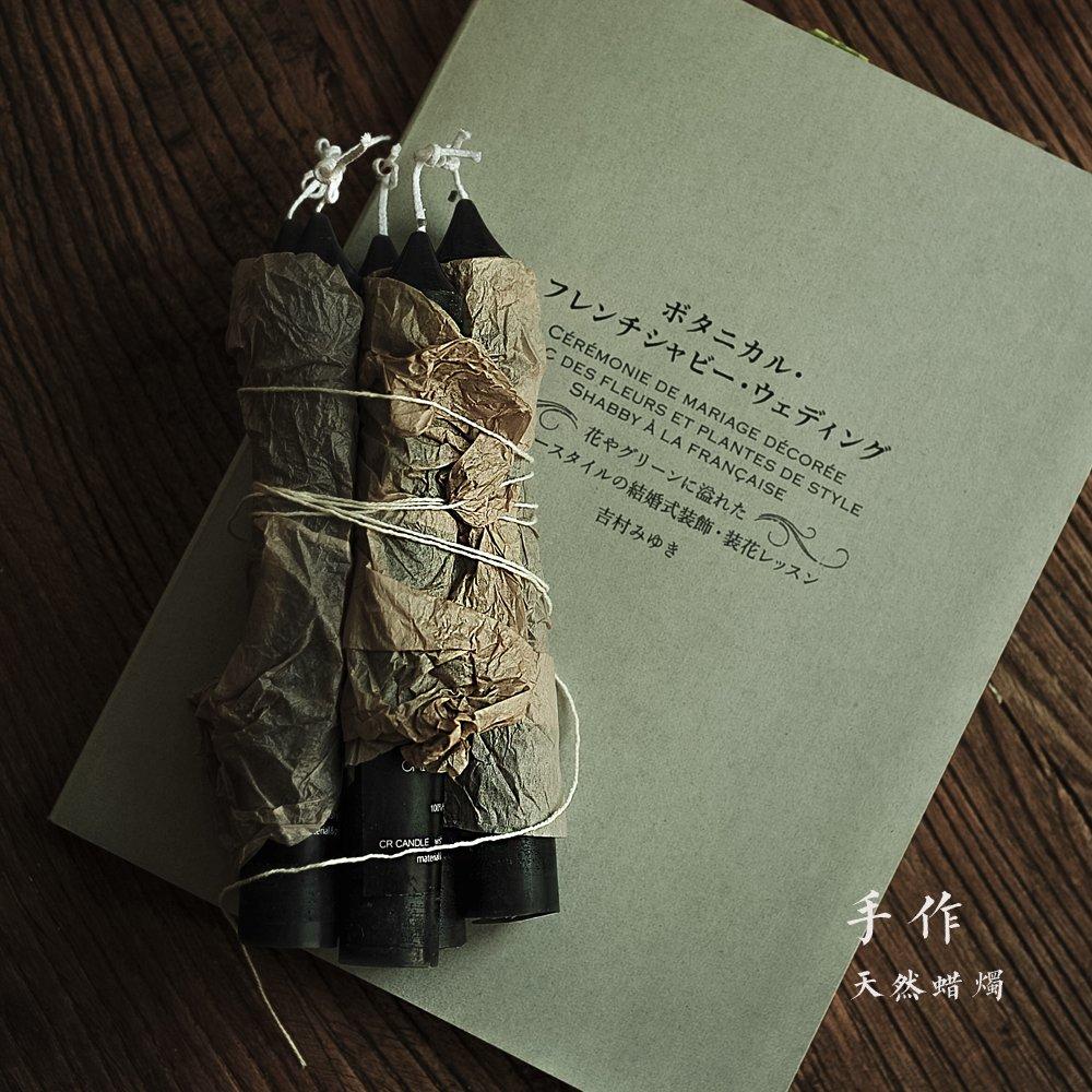 JJALZ Natürliche Bienenwachs Kerzen Handgefertigte Kerzen Rauchlose Kerze Holzkohle Schwarz,M Mit Dekoration 2,2 cm  16 cm