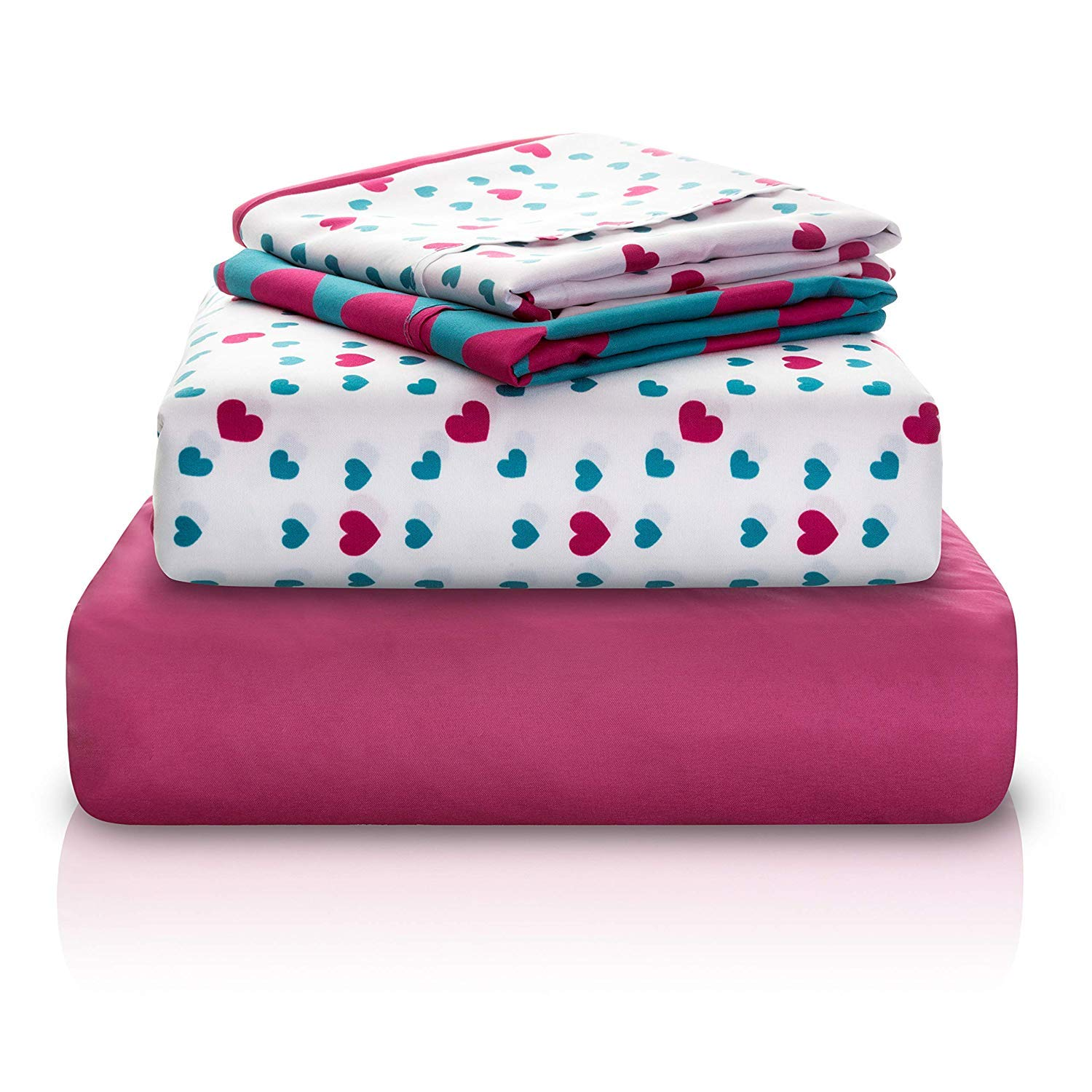 Chital Twin Bed Sheets for Girls | 4 Pc Red & Green Hearts Print | 1 Flat & 1 Fitted Sheet, 2 Pillow Cases | Durable Super-Soft, Double-Brushed Microfiber | 15'' Deep