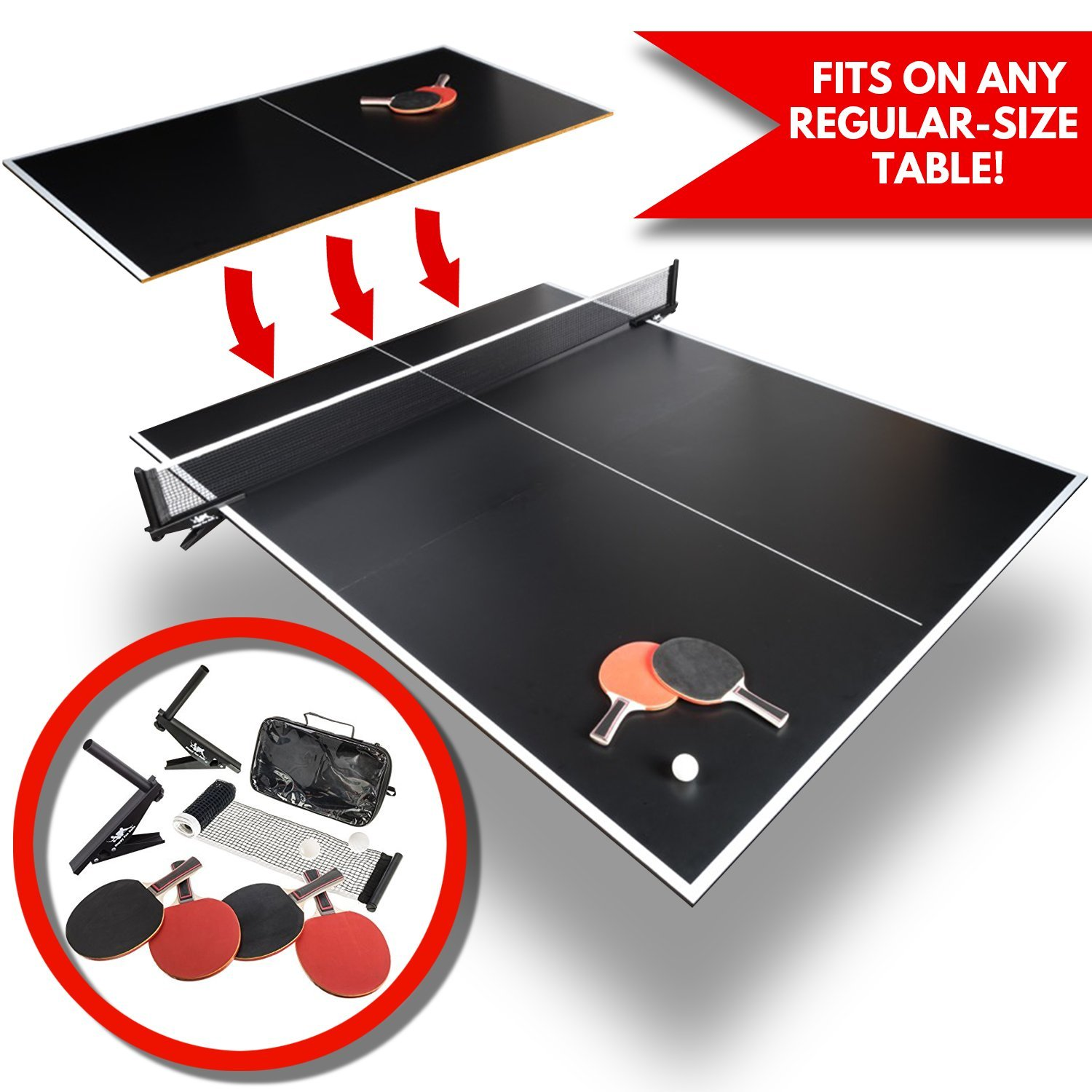 Convertible Table Tennis Top   Full Size   Tri Folding Portable Ping Pong Conversion Set   Includes Balls, 4x Racket and Net   Foldable Tops for Pool Tables