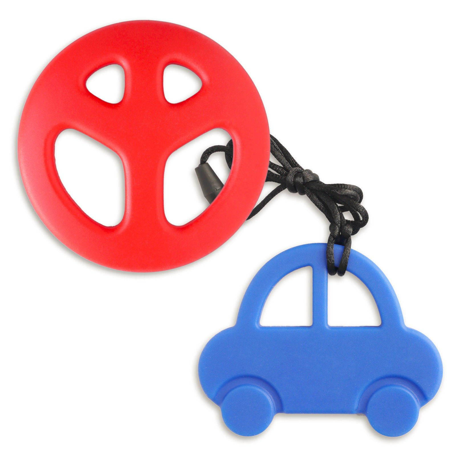 Blue Car, Red Peace- BABY Silicone Teething Nursing Breastfeeding Necklace chew chewable jewelry