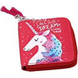 Chinget Unicorn Pattern Girls Coin Purse Students Cartoon Zip Coin Bag Wallet (Red)