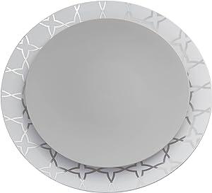 Trendables 40 - Pack Combo Premium Disposable Plastic Plates, Food Grade Elegant Plastic Dinner Plates - Geo Design Includes: 20 x 10.25