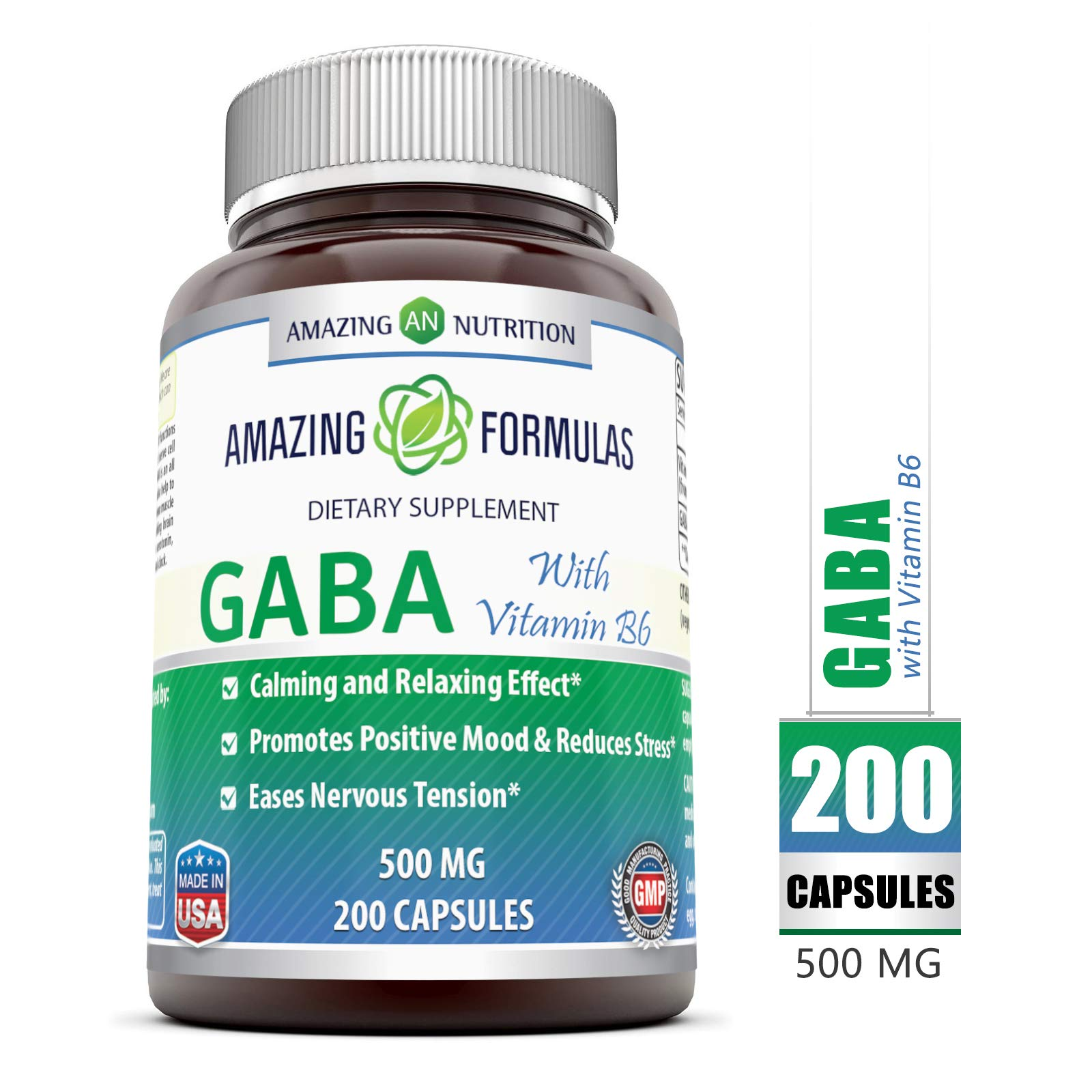 Amazing Formulas GABA (Gamma Aminobutyric Acid) with Vitamin B6 500mg 200 Capsules - Natural Calming Effect - with Vitamin B-6 Promotes Relaxation - Eases Nervous Tension* by Amazing Nutrition