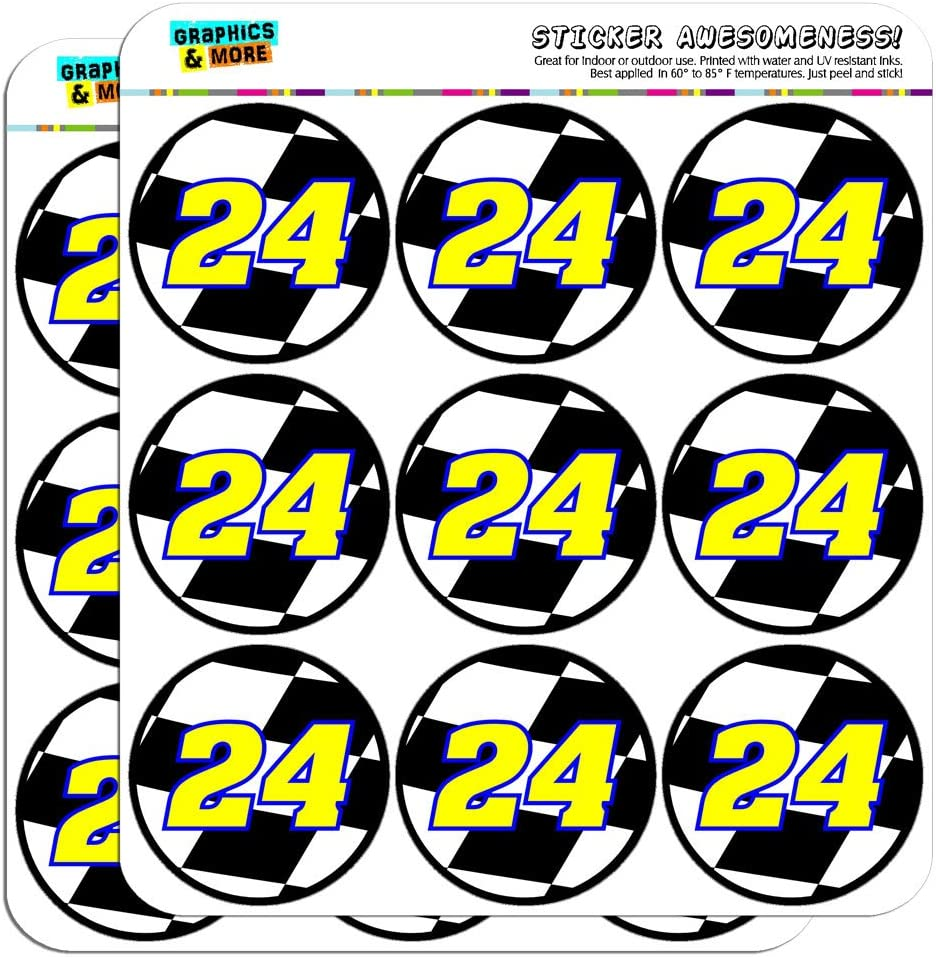 Graphics /& More Automotive Racing Number-24 Number Checkered Flag White