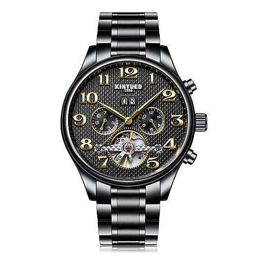 KINYUED Ahueca hacia Fuera el Reloj mecánico 3m Calendario automático Impermeable Reloj de Pulsera Hombres de Alta Gama de Negocios Reloj: Amazon.es: ...